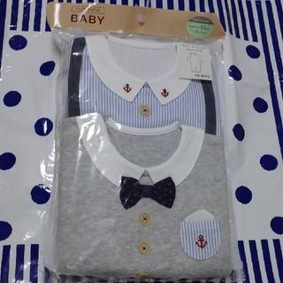 motherways - マザウェイズ 男の子 83ロンパース2枚組 カバーオール 80 マリン ネクタイ