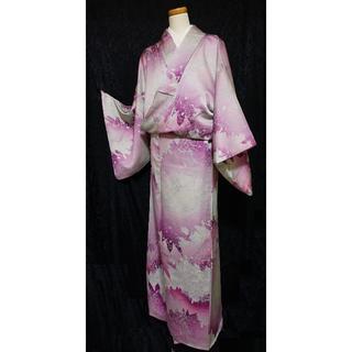 パープル 着物 正絹 モダン シルバー グラデーション 紫(着物)