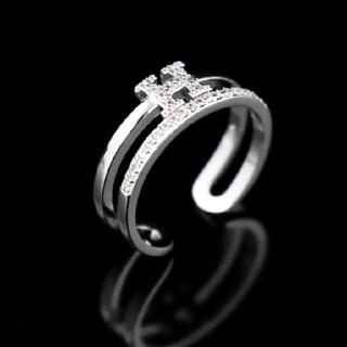 ダチュラ(DaTuRa)の新品♥指輪/ダブルストーンリング/Hデザイン/シルバー/サイズ調節可能/可愛い(リング(指輪))