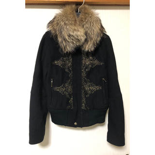 ウール製 ファー付き ライダースジャケット(ライダースジャケット)