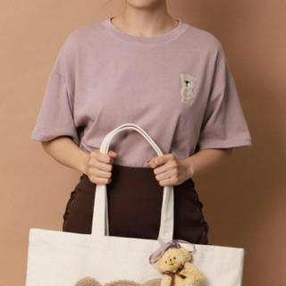 one after another NICE CLAUP - nice claup くまTシャツ ピンク