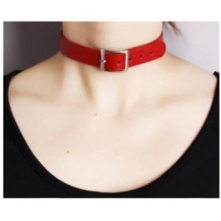 レザー チョーカー ブレスレットとしても使える レッドカラー 首輪 ゴスロリ(ネックレス)