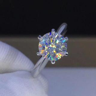 【1.5カラット】輝く モアサナイト ダイヤモンド リング(リング(指輪))