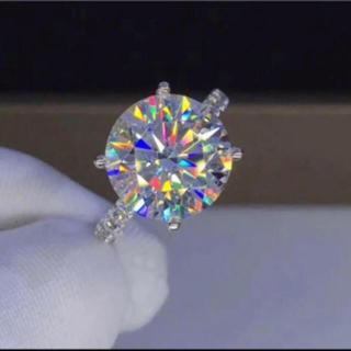 【贅沢5カラット 】輝く モアサナイト ダイヤモンド リング(リング(指輪))