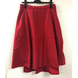 フレアスカート 赤 LLサイズ 大きいサイズ(ひざ丈スカート)