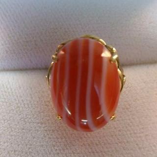K18  リング 指輪 サードオニキス 縞瑪瑙(リング(指輪))
