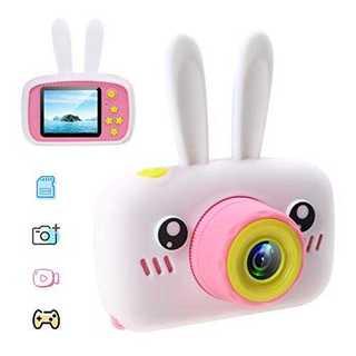 ホワイト&ピンクキッズカメラー 子供用 デジタルカメラ トイカメラ 動画 写真