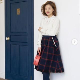 チェスティ(Chesty)の新品:chesty ツイードフレアスカート ・ネイビー ・1サイズ(ひざ丈スカート)