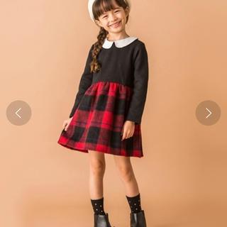 petit main - チェックフレアスカート丸襟ワンピース♥