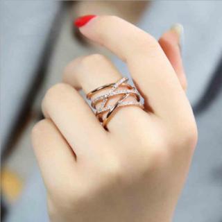 大人気 シルバー925 刻印あり 18金コーティング 編みデザイン リング 指輪(リング(指輪))