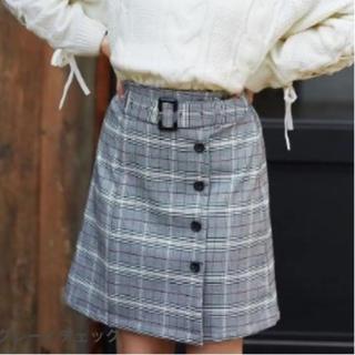 INGNI - サイド釦チェック柄/台形スカート グレー/チェック