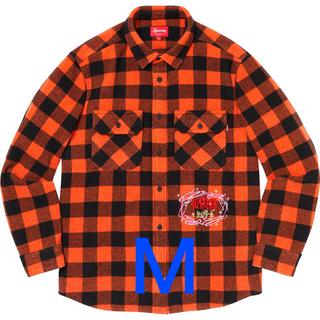 Supreme - M オレンジ supreme 1-800 buffalo plaid shirt