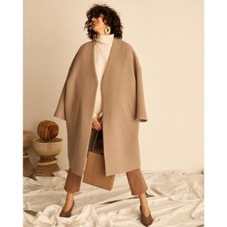 ミラオーウェン(Mila Owen)のミラオーウェン ノーカラーミドル丈コート モカ(ロングコート)