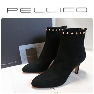 PELLICO - 新品 PELLICO バックジップ スタッズ ブーツ ブラック 定価83600円