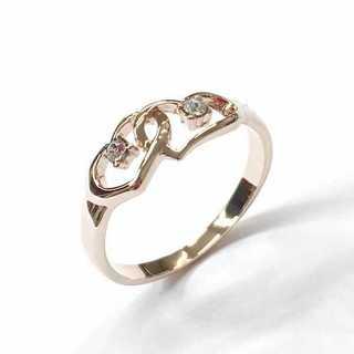 ダブルハート デザインリング ピンクゴールド 指輪 スワロフスキー使用(リング(指輪))
