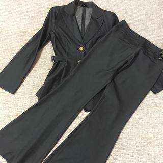 617.R☆パンツスーツ☆濃いシルバーグレー☆サイズS(スーツ)