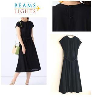 BEAMS - ビームスライツ  ★ ウエストリボン バックボタン ワンピース フレンチ 黒