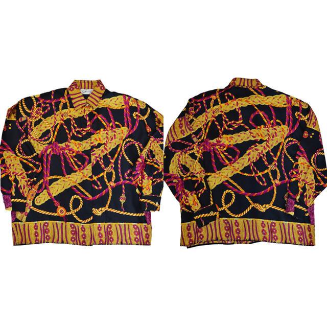 美品★90s VINTAGE★スカーフ柄シャツ★シルクシャツ★紫★黒★イタリア製 メンズのトップス(シャツ)の商品写真