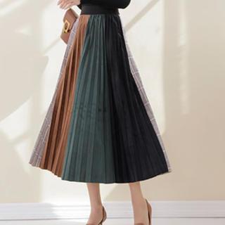 マルチカラーベロアグレンチェック切り替えプリーツスカートドレス☆ヒョウ柄ドット有(ロングスカート)