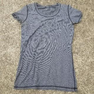 ルルレモン(lululemon)のルルレモン 半袖Tシャツ サイズ2? 黒白マイクロストライプ 中古(ヨガ)