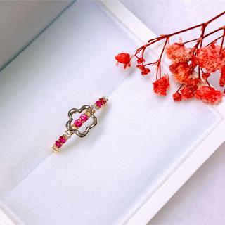 K18 Pt900 天然ルビー,ダイヤモンド リング(リング(指輪))