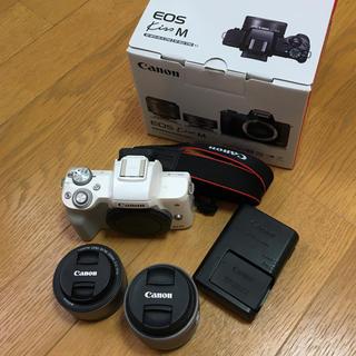 送料無料!! EOS Kiss M ホワイト ダブルレンズキット Canon