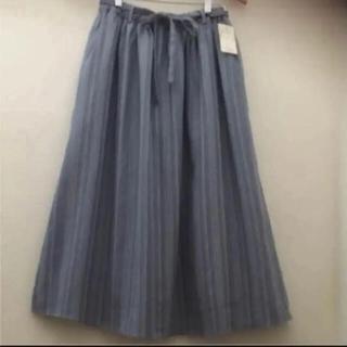 SM2 - 新品☆サマンサモスモス ナチュラルなストライプギャザースカート☆麻綿素材!