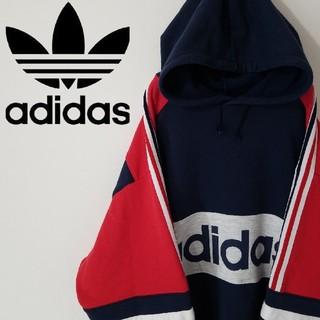 アディダス(adidas)の希少 90S アディダス パーカー マルチカラー ビックロゴ  オーバーサイズ(パーカー)