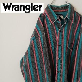 Wrangler - レア ラングラー BD シャツ 太ストライプ ダブルポケット スナップボタン