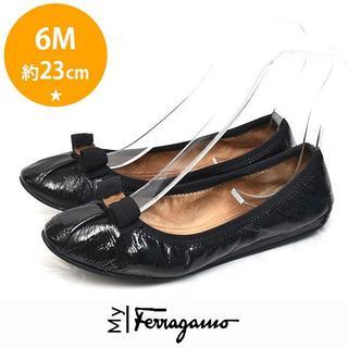 Ferragamo - マイフェラガモ My joy リボン バレエシューズ 6M(約23cm) BK