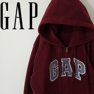 ギャップ(GAP)の希少 GAP フリース パーカー ボルドーカラー オーバーサイズ 刺繍ロゴ(ブルゾン)