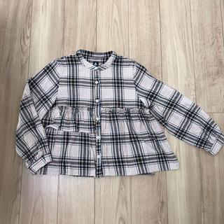 merlot - メルロー チェックフリルシャツ