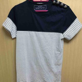 バルマン(BALMAIN)の正規 14SS BALMAIN バルマン 肩ボタン ボーダー Tシャツ(Tシャツ/カットソー(半袖/袖なし))
