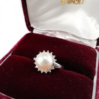 タサキ(TASAKI)の美品 田崎真珠 大粒 パール ダイヤ プラチナ リング BO19(リング(指輪))