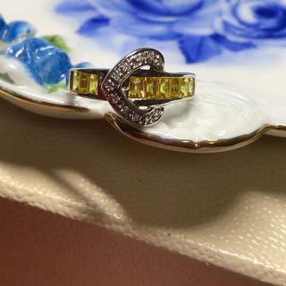 イエローサファイア 18k リング ダイヤモンド テーパー ハート 10号(リング(指輪))