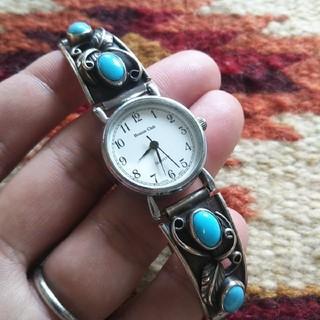 Indian - インディアンジュエリー ナバホ族 ターコイズ シルバー 腕時計 バングル
