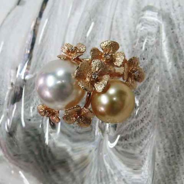 2カラーの真珠と花びらの素敵なデザイン指輪☆ピンクゴールド華やかリング!! レディースのアクセサリー(リング(指輪))の商品写真