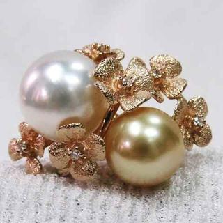2カラーの真珠と花びらの素敵なデザイン指輪☆ピンクゴールド華やかリング!!(リング(指輪))