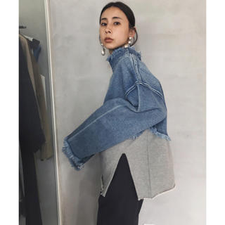Ameri VINTAGE - DENIM SWEAT DOCKING TOP 完売品19ss正規品