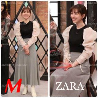 ZARA - 新品 ZARA M オーガンザ素材スリーブ トップス