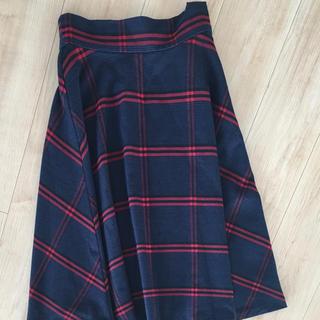 ジーナシス(JEANASIS)のミモレ丈スカート フレア タータンチェック (ひざ丈スカート)