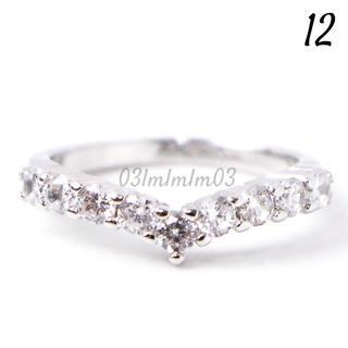C1 リング 12号 CZ ダイヤモンド Vシェイプ レディース(リング(指輪))