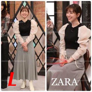 ザラ(ZARA)の新品 ZARA L オーガンザ素材スリーブ トップス(シャツ/ブラウス(長袖/七分))
