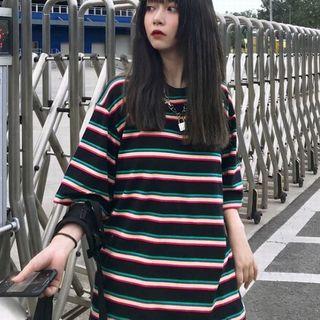 [メ]新品♫ ボーダーTシャツ レディース ビッグシルエット ビッグTシャツ(Tシャツ(半袖/袖なし))