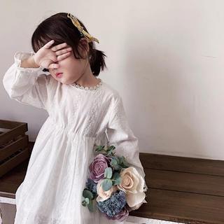 韓国子供服 コットンレース ワンピース 24m(ワンピース)