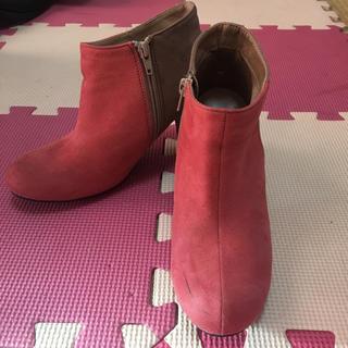 ピンク ショートブーツ(ブーティ)