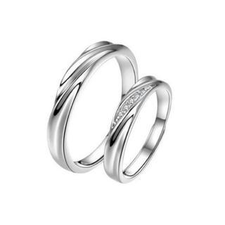 リング 指輪 ペア 男女 925 シルバー 純銀 ラインストーン カップル 指輪(リング(指輪))
