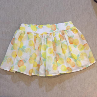 【レモン♡オレンジ柄】スカート風キャロット 120(スカート)