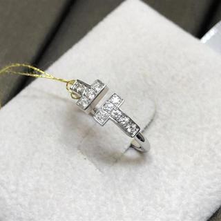 ティファニー(Tiffany & Co.)のティファニーTiffany&co K18WGホワイトゴールド Tリング 7# (リング(指輪))