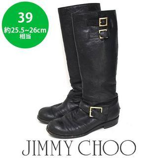 ジミーチュウ(JIMMY CHOO)のジミーチュウ ベルト ロングブーツ バイカーブーツ 39(約25.5-26cm)(ブーツ)